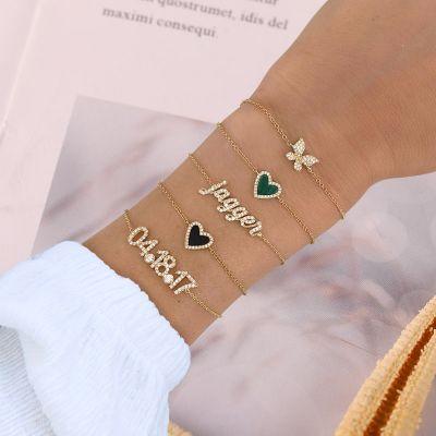 "Black Onyx Heart Bracelet Adjustable Chain 6""-7.5"""