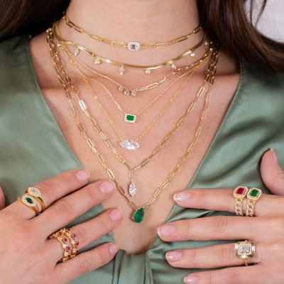 "Emerald Green Teardrop Link Necklace Adjustable 16""-20"""