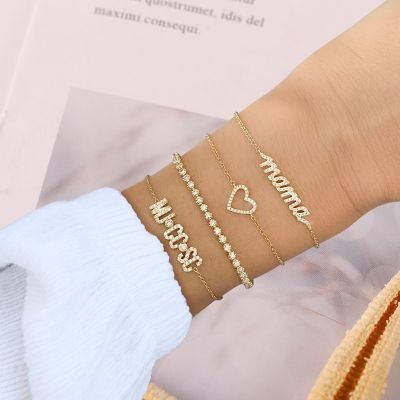 "Diamond Open Heart Bracelet Adjustable 6""-7.5"""