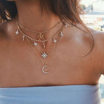 """Crescent Sparkle Diamond Necklace Adjustable 16""""-20"""""""