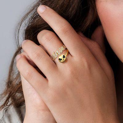Winona - Custom Diamond Name Ring with Jack Skull