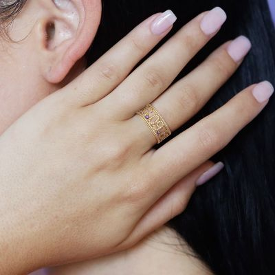 Natalie - Birthday Custom Cutout Diamond Pave Date Ring with Birthstone