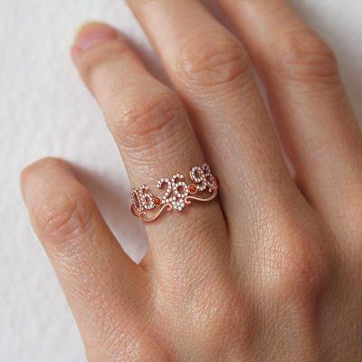 Ariana - Birthday Custom Diamond Heart and Date Ring with Birthstone