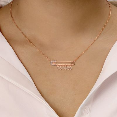 "Cate - Birthday Custom Diamond Date Safety Pin Necklace Adjustable 16""-20"""