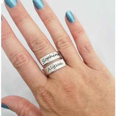 Personalized Spiral Twist Engraved Names Ring
