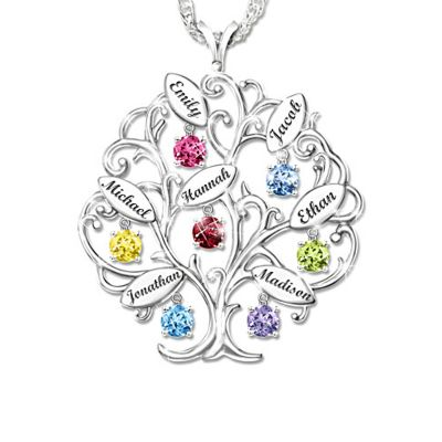 "Personalized Family Tree Birthstone Multi Name Necklace Adjustable 16""-20"""