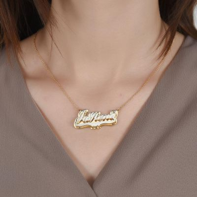 Custom Double Layer Two Tone Name Necklace