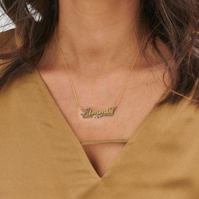 Two Tone Personalized Name Necklace with Heart