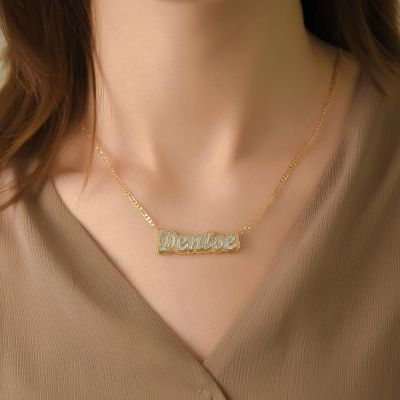 Double Layer Two Tone Custom Name Necklace