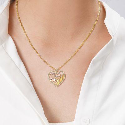 "Custom Heart-shaped Family Tree of Life Multi-name Necklace Adjustable 16""-20"""