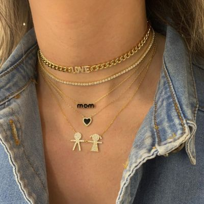 "Diamond Boy & Girl Family Necklace Adjustable 16""-20"""