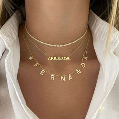 Custom Spaced Diamond Name Necklace with Two Stars Adjustable Chain 16