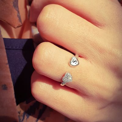 Personalized Open Diamond Heart Letter Ring