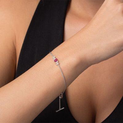 Custom Letter Bracelet with Heart-Shaped Ruby