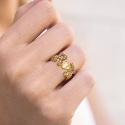 Custom Two Diamond Letters Signet Ring