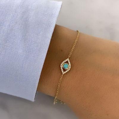 "Turquoise Evil Eye Bracelet Adjustable 6""-7.5"""