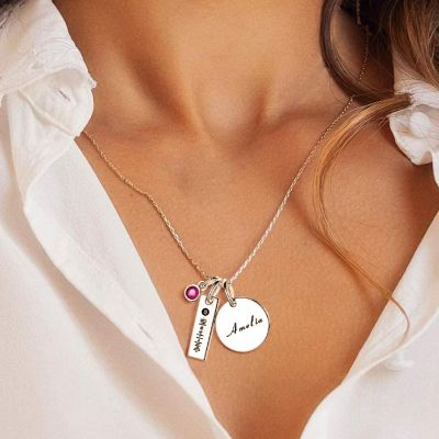 "Scannable Spotify Code Custom Music Song Name Necklace with Birthstone Adjustable 16""-20"""