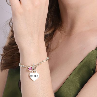 Scannable Spotify Code Custom Music Song Heart Bracelet with Birthstone