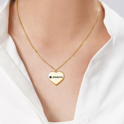 "Scannable Spotify Code Custom Music Song Heart Necklace Adjustable 16""-20"""