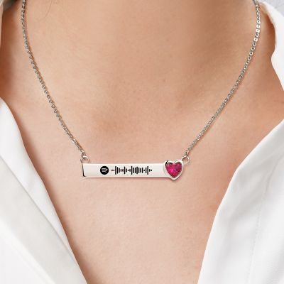 "Scannable Spotify Code Custom Music Song Bar Necklace with Heart Birthstone Adjustable 16""-20"""