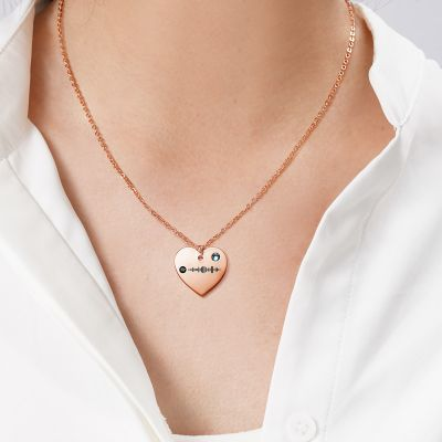 "Scannable Spotify Code Custom Music Song Heart Necklace with Birthstone Adjustable 16""-20"""