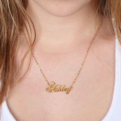 "Ashley - Personalized Name Crown Necklace Adjustable 16""-20"""