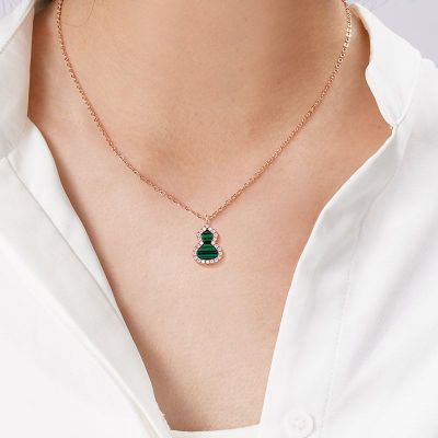 Malachite Diamond Gourd Necklace