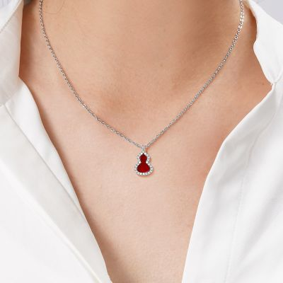 Red Agate Diamond Gourd Necklace