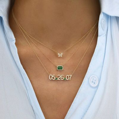 "Personalized Diamond Date Necklace Adjustable 16""-20"""