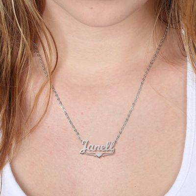 "Janell - Personalized Name Necklace With Heart Adjustable 16""-20"""
