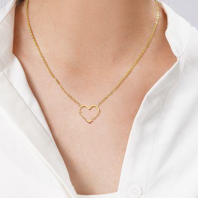 "Custom Heart-shape Double Name Necklace Adjustable 16""-20"""