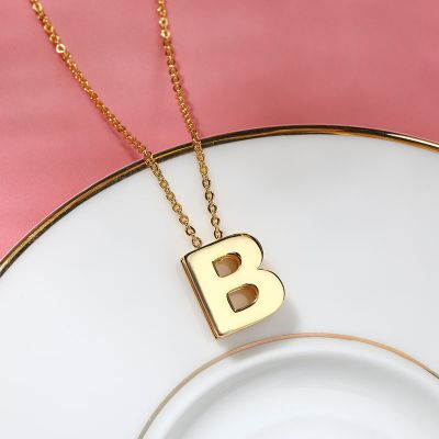 Custom Letter Sliding Pendant Necklace Adjustable Chain 16