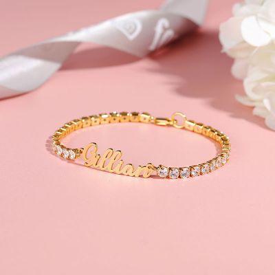 Custom Name Bracelet with Diamond Chain