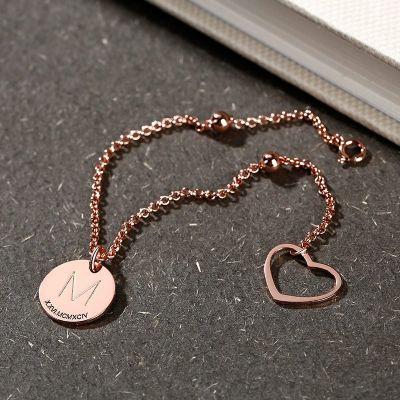 Custom Letter Bracelet with Heart