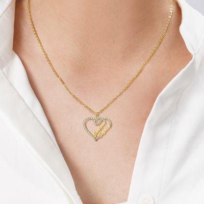 "Custom Diamond Heart Double Names Necklace Adjustable 16""-20"""