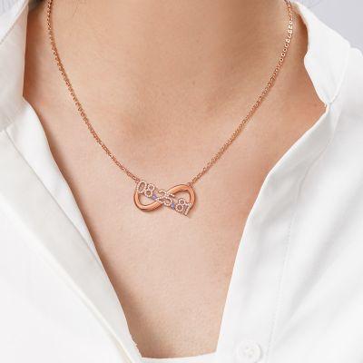 "Rachel - Birthday Custom Date Infinity Necklace with Birthstone Adjustable 16""-20"""