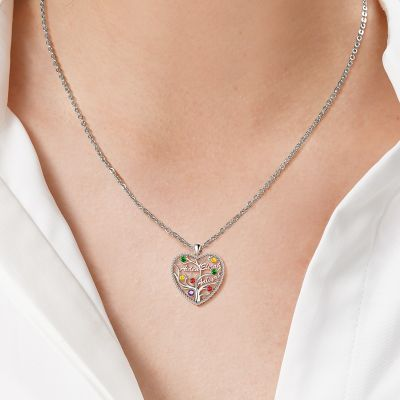 """Custom Heart Tree of Life Three Names Necklace with Colorful Stone Adjustable 16""""-20"""""""