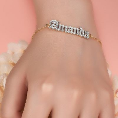 Personalized Old English Font Two Tone Name Bracelet