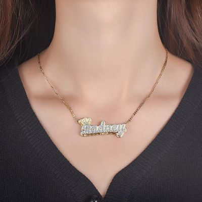 Custom Crown Double Plate Two Tone Name Necklace