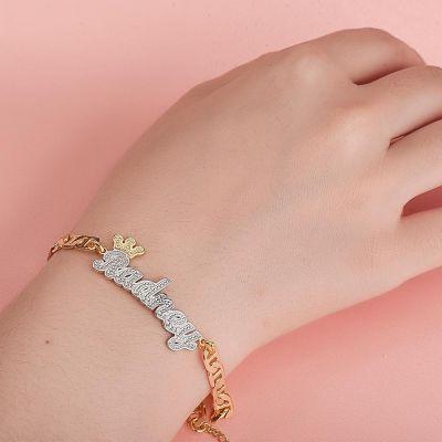 Custom Crown Two Tone Name Bracelet