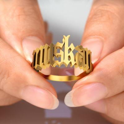 Custom Old English Name Ring