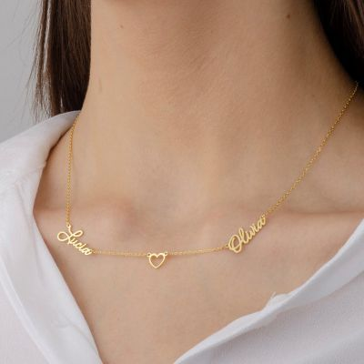 """Custom Two Name Necklace With Heart Adjustable 16""""-20"""""""
