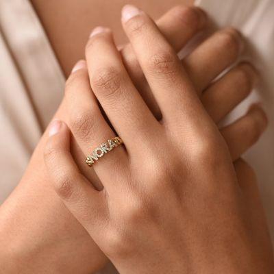 Custom Curb Link Diamond Pave Name Ring