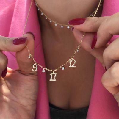 Custom Diamond Multi-date Necklace Adjustable 16