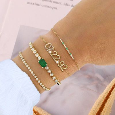 "Personalized Diamond Date Bracelet with Birthstone Adjustable 6""-7.5"""