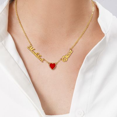 """Madden & Diaz - Custom Double Name Necklace with Red Agate Heart Adjustable 16""""-20"""""""