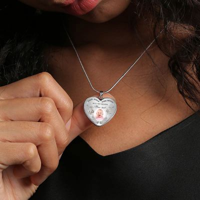 """Custom Photo Memorial Necklace Adjustable - Your Wings Were Ready 16""""-20"""""""