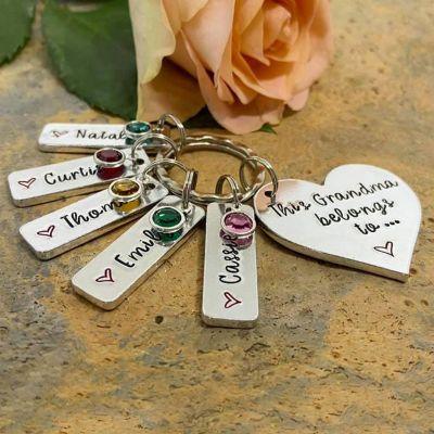 Custom Multi Name Keychain with Birthstone and Heart