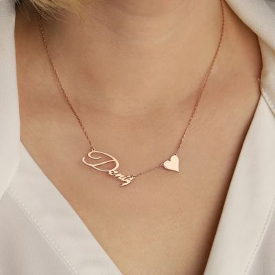 """Personalized Name Necklace with Heart Adjustable 16""""-20"""""""