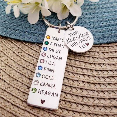 Personalized 1-9 Engraving Names with Birthstone Keychain